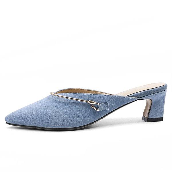 Genuine Leather Blue Women Mules Pointed-toe Summer Style Slippers 5.5 CM Chunky Heels Sexy Woman Pumps Box packing 18227