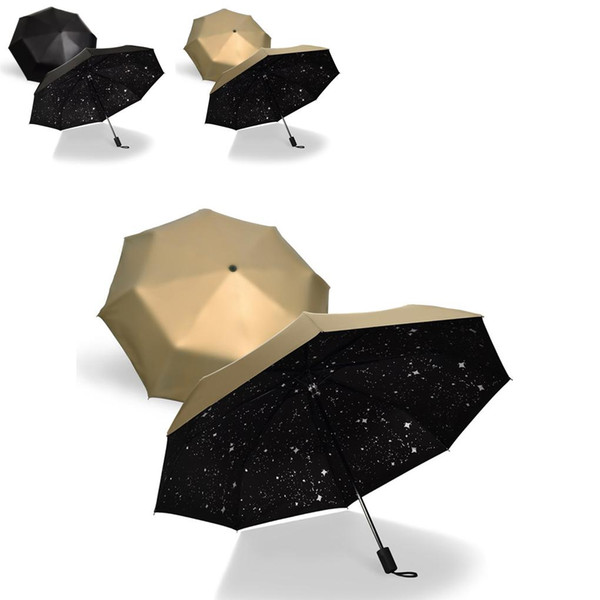 Anti UV Sol / Lluvia Triple Paraguas Plegable Nuevo estilo Starry Sky Black Coating Windproof