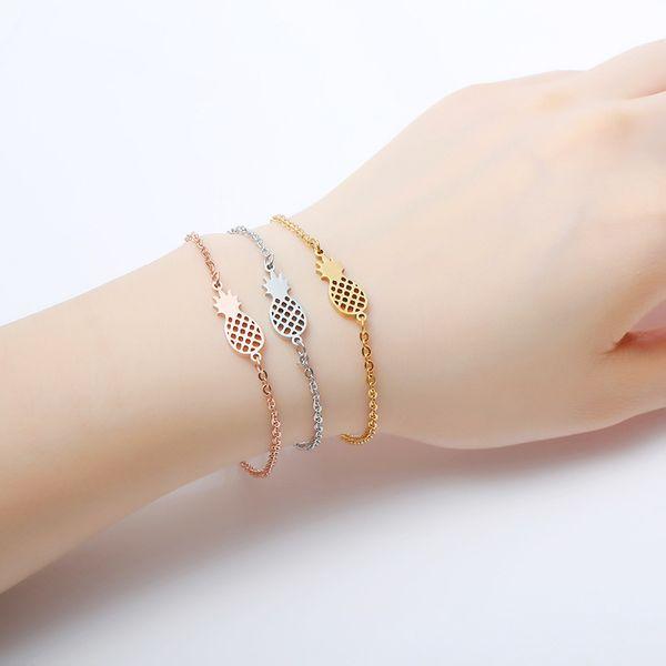 Fruit Bracelet Cute Pineapple Bracelet Hollow 2019 Trendy Minimalism Small Women Friendship Stainless Steel Rose Gold Armband