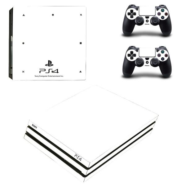 Décalque autocollant autocollant noir et blanc pur Ps4 Pro pour la console Sony Ps4 Playstation 4 Pro et 2 contrôleurs autocollants autocollants vinyle T6190615