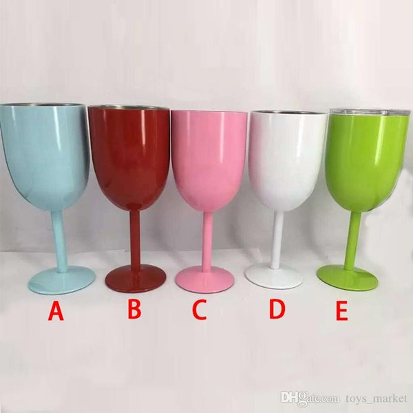 2017 Stainless Steel Wine Glass Cup Double Wall Insulated Metal Goblet With Lid Tumbler Red Wine Mugs