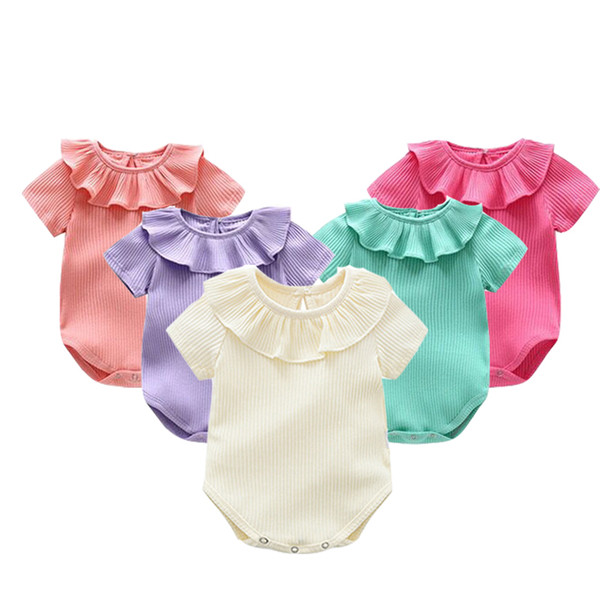 Summer Baby Body Girl Knitted Rompers Princess Newborn Baby Clothes Girls Boys Short Sleeve Jumpsuit Kids Baby Outfits
