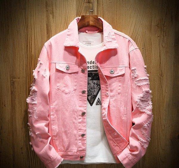 Джинсовые куртки мужские Разорванные Дыры мужские розовый Жан куртки Новый 2019 Омывается Mens Denim пальто Дизайнер Clothes88