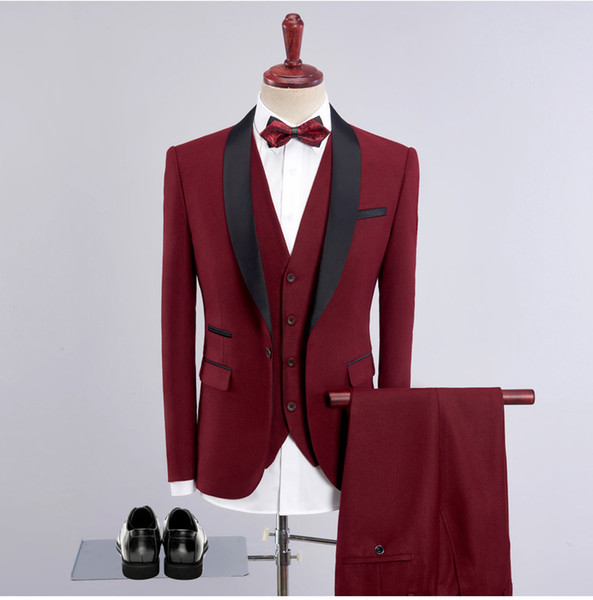 2018 Luxury New Arrival Men Suits For Wedding High Quality Slim Fit Mens Party Suit Black Wine Red Prom Suits Size 4XL