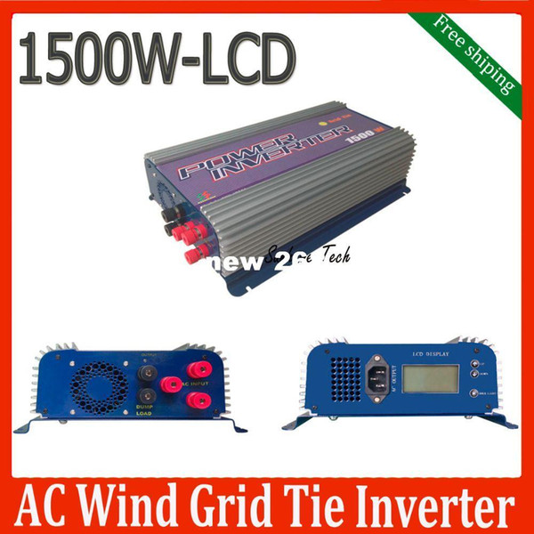 Freeshipping 1500W Grid tie wind inverter with dump load for 3phase AC wind turbine,LCD MPPT pure sine wave inverter
