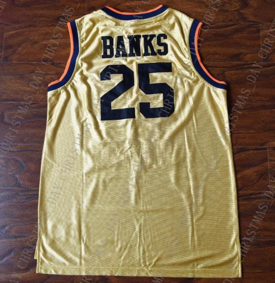 Carlton Banks Fresh Prince #25 Jersey Throwback Stitched Bel Air Academy Yellow