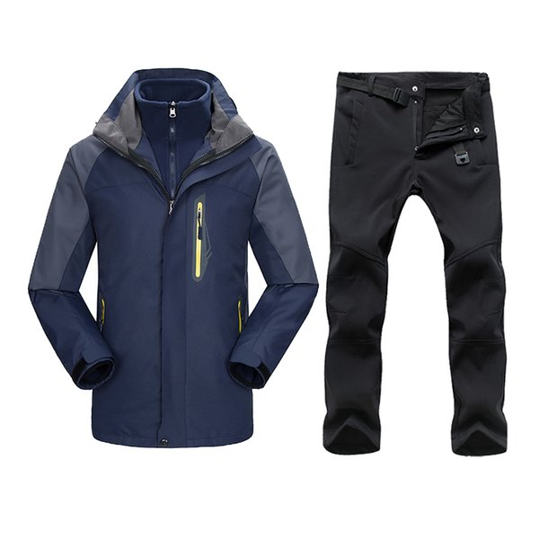 Men Winter Waterproof Jacket Pants Trekking Hiking Camping Ski Snowboard Jackets Outdoor Thermal Fleece Ski Suits For Men