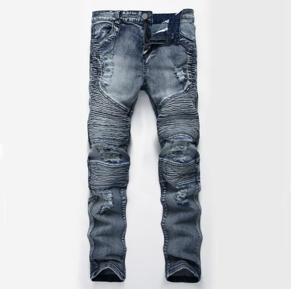 New Men's Jeans Ripped Holes Pants Korean Style Elasticity Casual Trousers Cool Stretch Man Denim Pants Spring