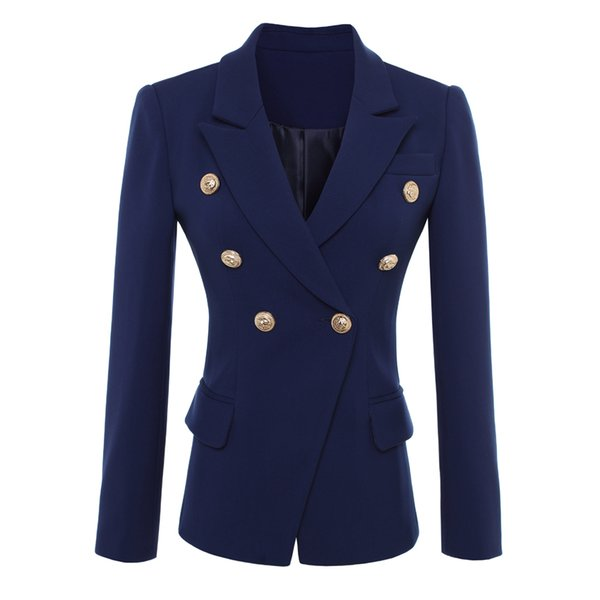 HIGH QUALITY Designer Blazer Jacket Women Solid Notched Coat,Gold Buttons Double Breasted lady Blazer Outerwear Big size S-XXXL
