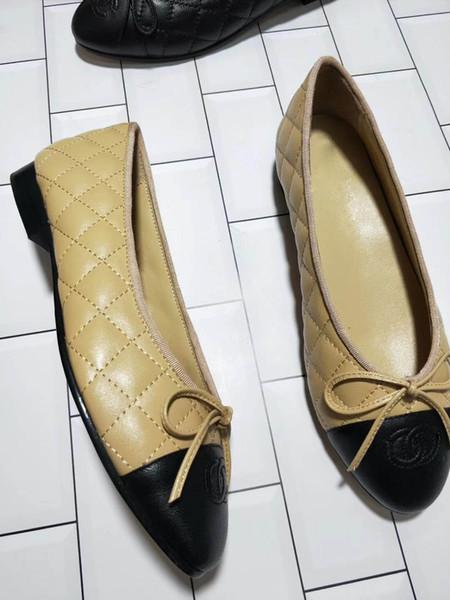 Heiß-verkaufende flachbesohlte Schuh-Entwerfer-Spielraum-Tanz-Metallknopf-Ballett-flachbesohlte Schuh-weibliche Schaffell-lederne Schuhe SZ 35-41