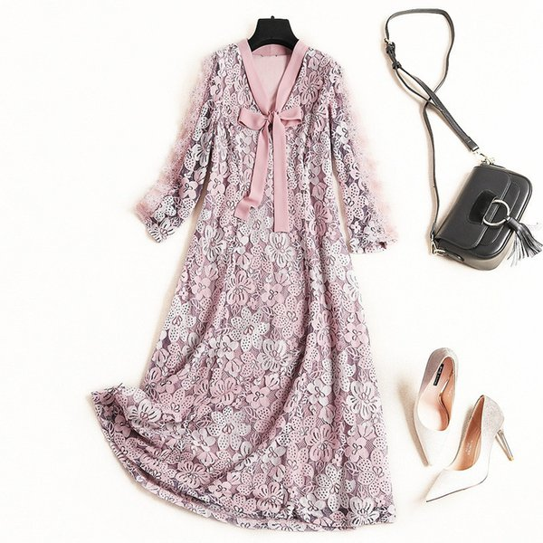 2019 Spring Luxury 3/4 Sleeve V Neck Floral Print Lace Ribbon Tie-Bow Mid-Calf Dress Fashion Casual Dresses J0810119