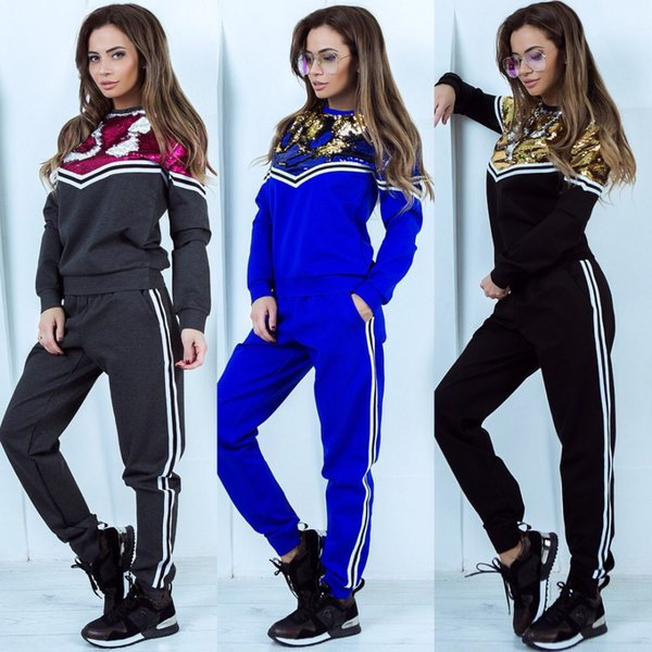 2019 Designer Women Clothes 2 Piece Pants Sequined Sport Tracksuit Hoodies Top + Pants Woman Set Outfit Womens Ladies Sweatsuits Tracksuits