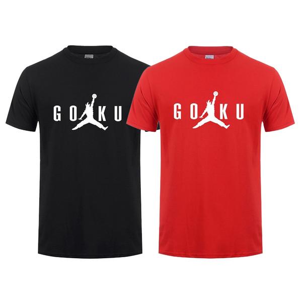Mens Summer Designer Japan Anime Dragon Ball Z T Shirt White Red Black 100% Cotton Casual Crew Neck Short T Shirt Size S-3XL