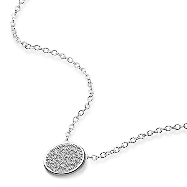 """Moertifei Solid 925 Genuine Sterling Silver 9mm Round Clear CZ Cluster Pendant Rolo Chain Necklace 18"""" for Women's Girl's Gift Nickel Free"""
