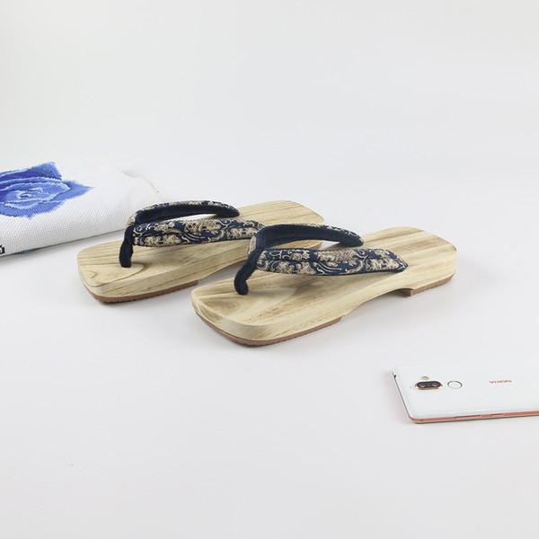 Mazefeng Été Unisexe Geta Cosplay Sandales Chine Geta Sabots Classique Pantoufles En Bois Couple Tongs Mâles Sabots En Bois