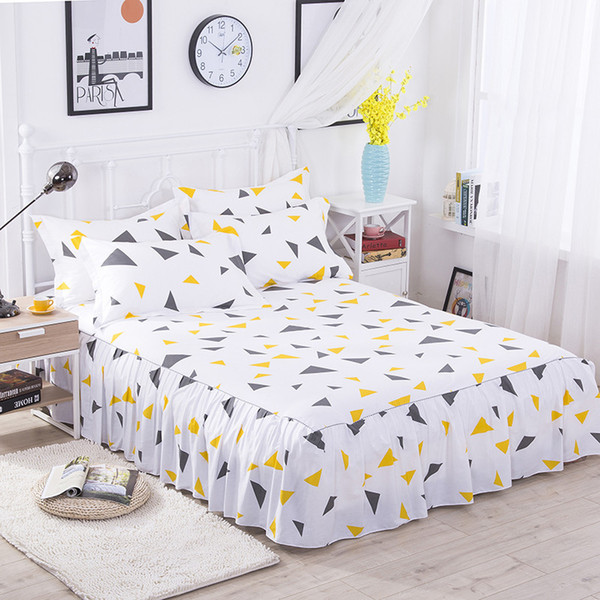 Colorful Geometric Bed Skirt for Kids Adults Single Double Bed 100% Polyester Sanding Bed Skirts