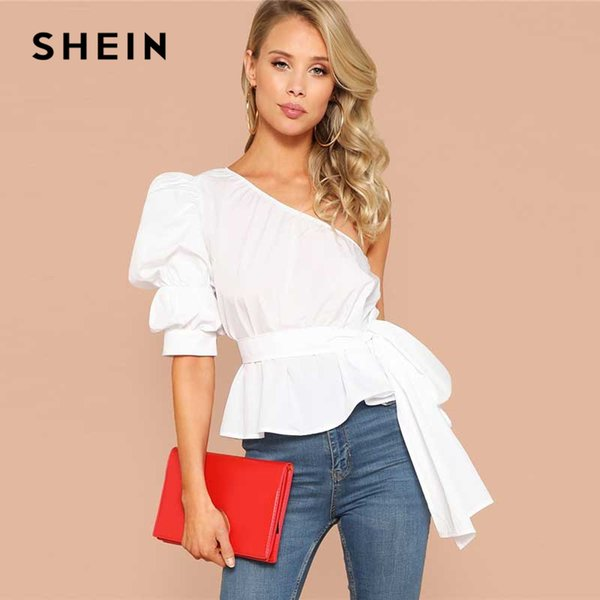 e6dc49cdd1 Shein Sexy White One Shoulder Puff Sleeve Peplum Knot Belted Top Blouse  Women Summer 2019 Solid