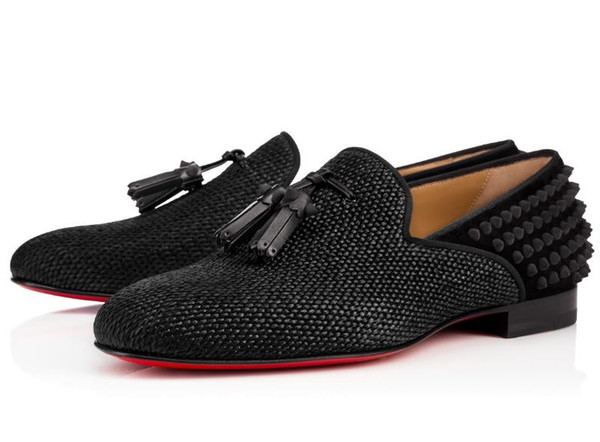 New Fashion Black Glitter Spikes Red Bottom Loafers Shoes Men Flats Wedding Party Male Gentlemen Dress Oxford Shoes L012