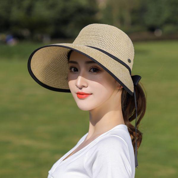 New Arrival Women Ladies Summer Large Wide Brim Sun Hat Foldable Roll Up Bowknot Decor Beach Visor Cap Outdoor Travel Cap