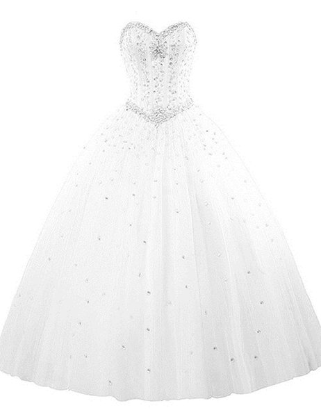 2019 Sexy White Sweetheart Crystal Ball Gown Quinceanera Dresses Tulle Plus Size Sweet 16 Dresses Debutante 15 Year Formal Party Dress BQ204