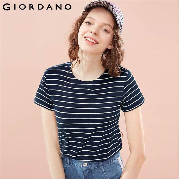 Giordano Women T Shirt Women Loose Design Stripes Contrast Color Round Neck Tshirt Short Sleeve Smooth Fabric Camiseta
