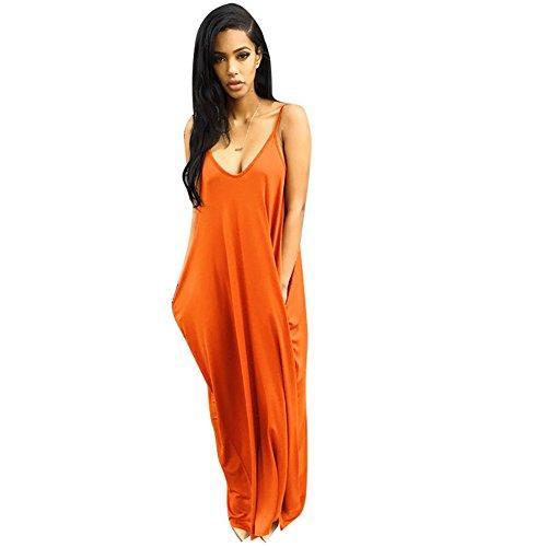 Verdusa Womens Spaghetti Strap V-Neck Side Pockets Maxi Dress