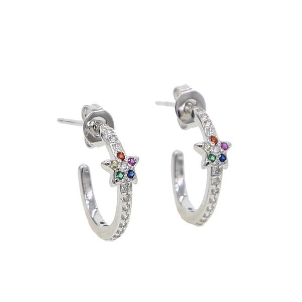 simple delicate lovely girl jewelry mini small circle hoop rainbow cz trendy earrings