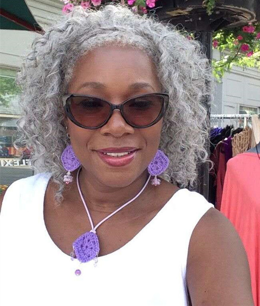 Femmes cheveux gris queue de cheval extension argent gris afro chignon ou feuilletée profond cordon de serrage cordon de queue de cheval de cheveux humains clip en vrais cheveux vente chaude
