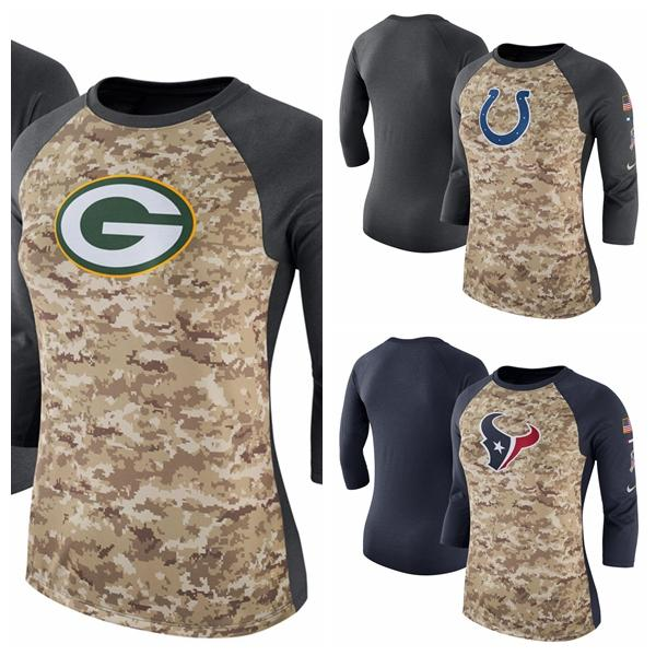 huge discount f8bff 97ef8 2019 Women'S Indianapolis Colts Houston Texans Green Bay Packers Camo  Charcoal Salute To Service Legend Three Quarter Raglan Sleeve T Shirt From  ...