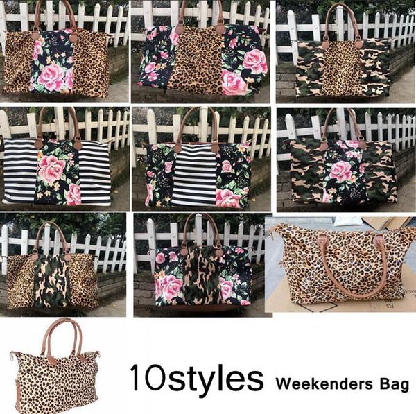 Striped Floral Leopard Duffel Bag Big Travel camouflage camo Tote patchwork handbag Double Handles Sarah Weekenders Bag AAA2049