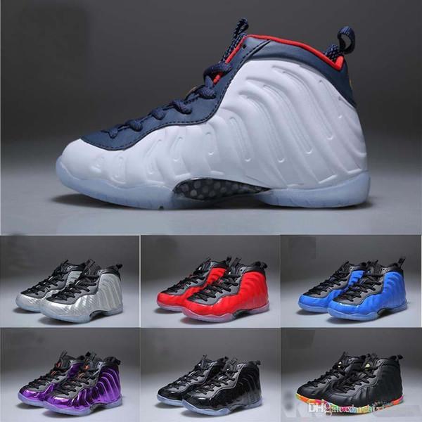 New Men Kids Penny Hardaway One Basketball Shoes Children Tennis Foam Eggplant Women Sports Shoes Eur 28-35