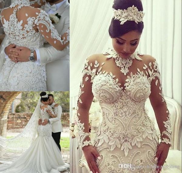 2019 Romantic Flora Dubai Style Wedding Dress Elegant Mermaid Long