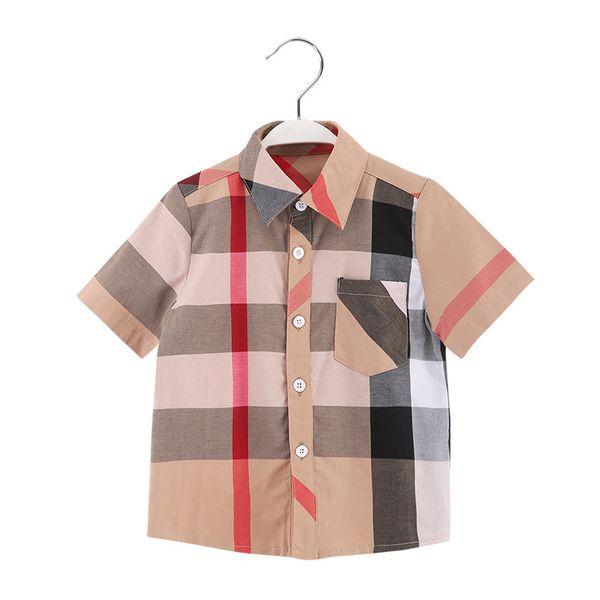 Brand design summer boy short-sleeved shirt fashion children's cotton T-shirt lapel plaid khaki button bag design free shipping