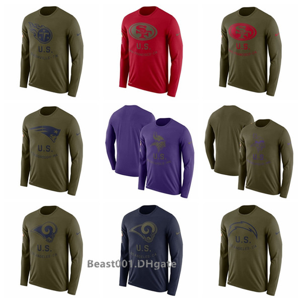 Men Titans 49ers Patriots Vikings Rams Chargers Texans Cowboys Salute to Service Side line Legend Performance Long Sleeve T-Shirt