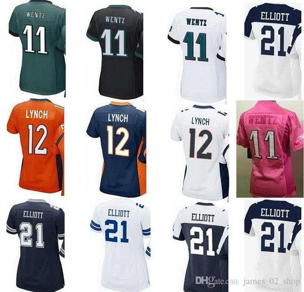 cheap for discount d1f31 a924a 2019 2017 Women'S Jerseys 21 Ezekiel Elliott Paxton Lynch 12 11 Wentz  Carson Pink Ladies Girls Stitching Embroidery Jersey Size S Xxl From ...