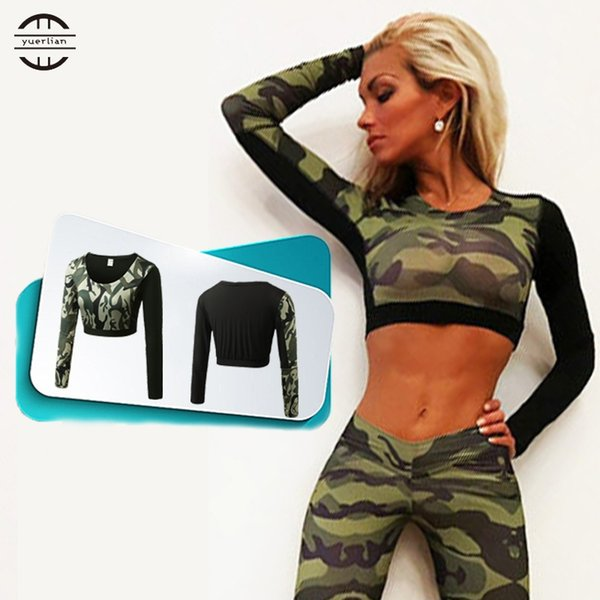 YEL Hot Dew Navel Attire Sexy Girl Crop Top Fitness Tight Blouse Costume Gym Sportswear Long Sleeve Tracksuit Yoga Women T-shirt #167797