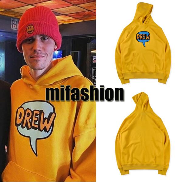 INS Moda Sonbahar Kış Justin Bieber Drew Evi Konuşma Balonu Sarı Kaykay Hoodie Hoody Erkekler Kadınlar Kapşonlu Sweatshirt