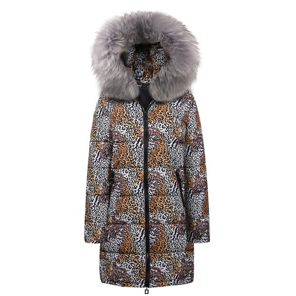 Womens Winter Long Down Cotton Leopard Print Parka Hooded Coat Jacket Outwear Comfortable Long sleeves loose tops New Arrival