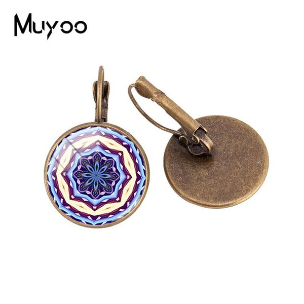 2019 New Flower Of Life Ear Clip Madala Art Pattern Clip Ear Glass Dome Cabochon Hand Craft Jewelry