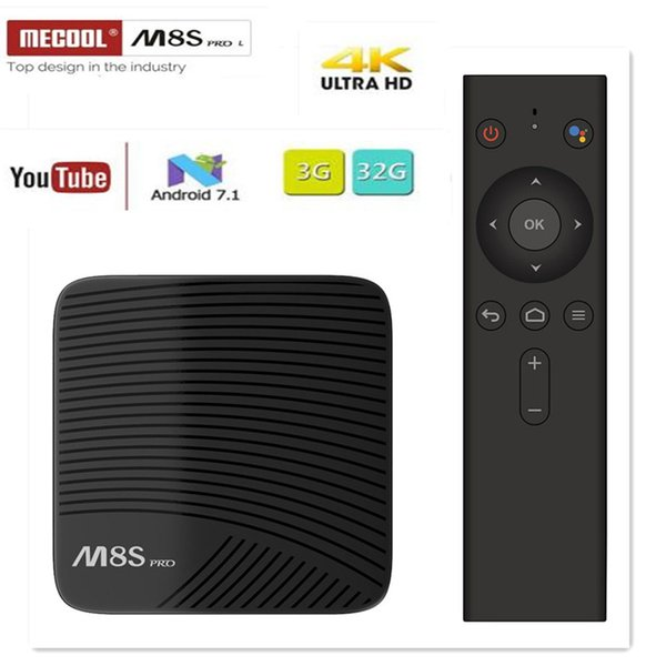 best selling MECOOL M8S PRO L TV BOX Android 7.1 Amlogic S912 3GB 16GB 32G Bluetooth Set-Top Box Voice Control 3D 4K HD Smart Media Player