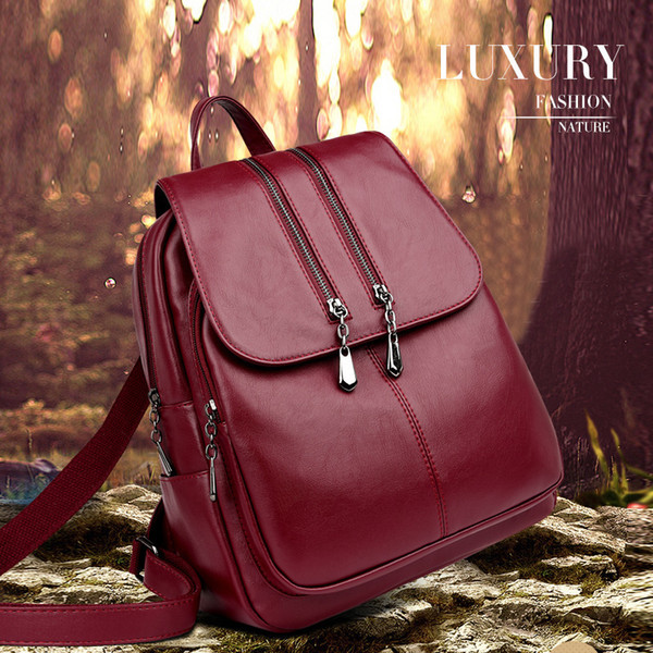 2019 Brand New Laptop Backpack Women Leather Luxury Backpack Women Fashion Backpack Satchel School Bag Pu Y19061004