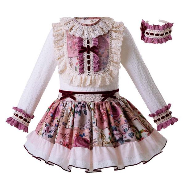 Pettigirl Spanische Art-Prinzessin Kids Clothing Set mit Headwear White Lace Tops + Flower Skirts Kinder Designer-Kleidung Mädchen G-DMCS106-B325