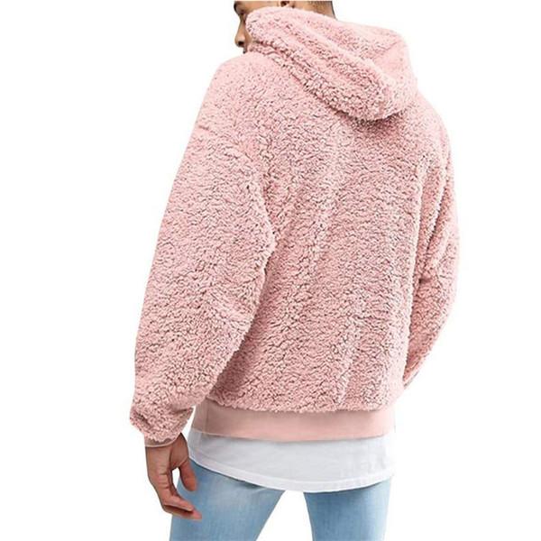 Atacado Brasão Furry inverno de espessura Jackets Fluffy Windbreaker Downy cordão Hoodie Outwear Street Fashion 5 Color B101095L Casual Top alta