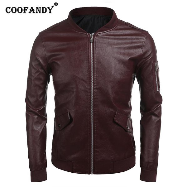 COOFANDY Men Bomber Jackets Long Sleeve Zip Solid Up Faux Leather Casual Biker Jacket Pocket, Rib with Pockets