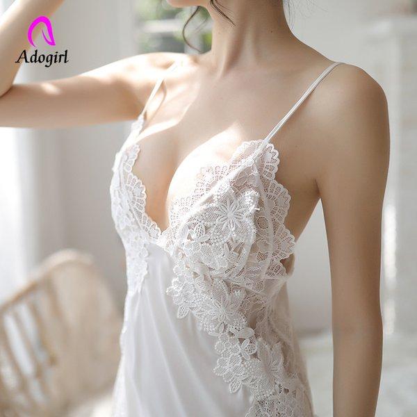 Mulheres camisolas brancas verão sexy roupa de dormir de seda macia sleepwear noite mini dress sexy ladies lingerie homewear cetim sleepdress