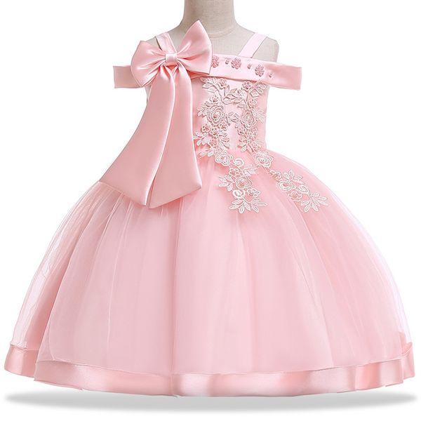 Girls Wedding Dress pink red wine Shoulderless Summer Princess Costume Kids Dresses For Girls Birthday Party Dress Girl Performance Dresses