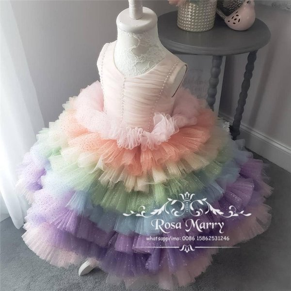 Lovely Ball Gown Cupcake Girls Pageant Dresses 2019 Pearls Beaded Plus Size Tiered Tulle Girls Birthday Party First Communion For Kids