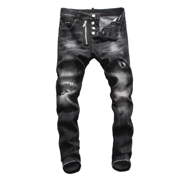 Acquista Nuovi Uomini Strappati Jeans Strappati Denim 2019 Cotone Navy Moda Stretto Primavera Autunno Pantaloni Da Uomo A8035 PHILIPP PLEIN DSQUARED2