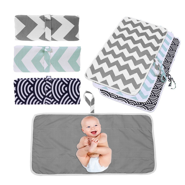 3-in-1 Multi-Function Travel Portable Folding Waterproof Baby Changing Diaper Pad 6 Appearance Options Green Gray Waves