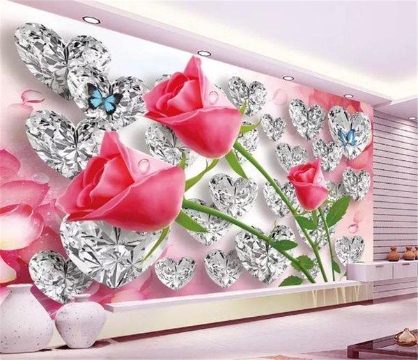 Compre Custom Photo 3d Wallpaper Diamond Rose 3d Love Creative Tridimensional Romántico Tv Sofá Fondo Decoración Mural Wallpaper A 2815 Del